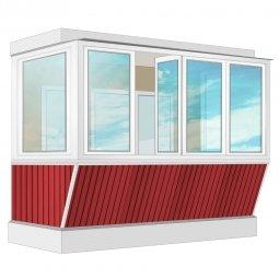 Остекление балкона ПВХ Veka с выносом и отделкой вагонкой без утепления 3.2 м П-образное