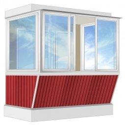 Остекление балкона Алюминиевое Provedal с выносом и отделкой вагонкой без утепления 2.4 м П-образное