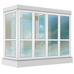 Остекление балкона ПВХ Rehau в пол с отделкой ПВХ-панелями с утеплением 3.2 м Г-образное