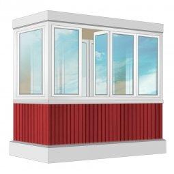 Остекление балкона ПВХ Exprof с отделкой ПВХ-панелями без утепления 2.4 м П-образное