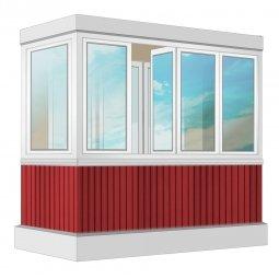 Остекление балкона ПВХ Veka с отделкой вагонкой без утепления 2.4 м Г-образное