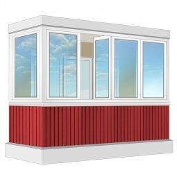Остекление балкона ПВХ Rehau с отделкой вагонкой без утепления 3.2 м П-образное
