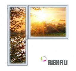 Балконный блок ПВХ Rehau 2100х2100 мм 1-Г 3 стеклопакет