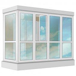 Остекление балкона ПВХ Exprof в пол с отделкой вагонкой без утепления 3.2 м П-образное
