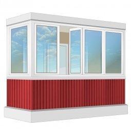 Остекление балкона ПВХ Veka с отделкой вагонкой без утепления 3.2 м Г-образное